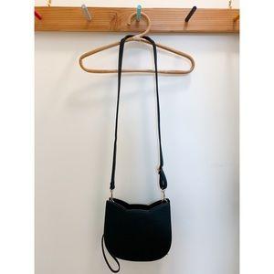 Black cat shaped vegan leather crossbody bag